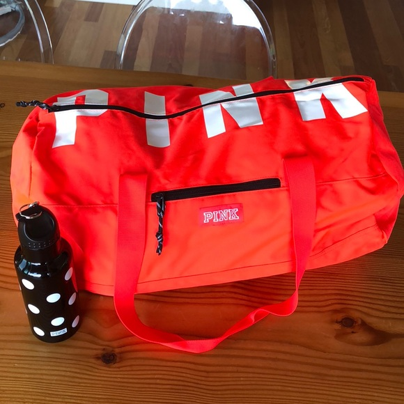 25aeb1737df2 VS PINK Neon Red Duffle Gym Bag and Bottle